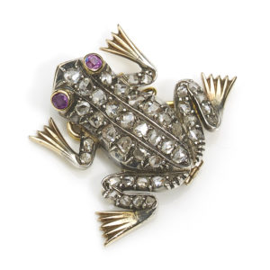 Victorian Style Diamond Set Frog Brooch