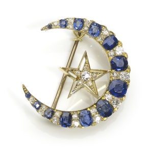 Victorian Style Sapphire and Diamond Crescent and Star Brooch