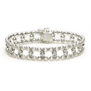 Diamond Set Two Row Bead Link Bracelet