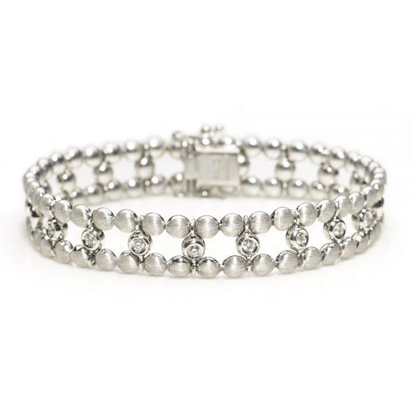 Diamond Set Two Row Bead Link Bracelet