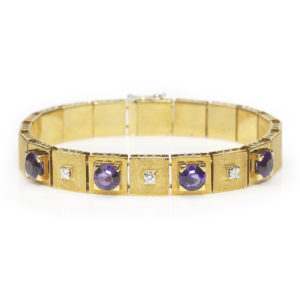 Vintage Amethyst and Diamond Link Bracelet, 18ct Yellow Gold