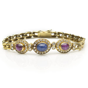 Cabochon Sapphire, Ruby and Diamond Cluster Bracelet, 18ct Yellow Gold