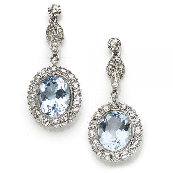 Vintage 15ct Aquamarine and Diamond Cluster Drop Earrings