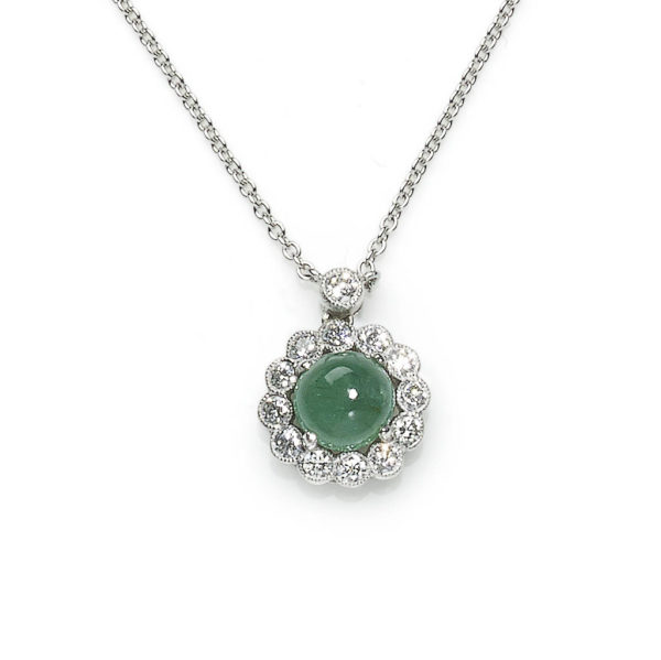 1.30ct Cabochon Emerald and Diamond Cluster Pendant