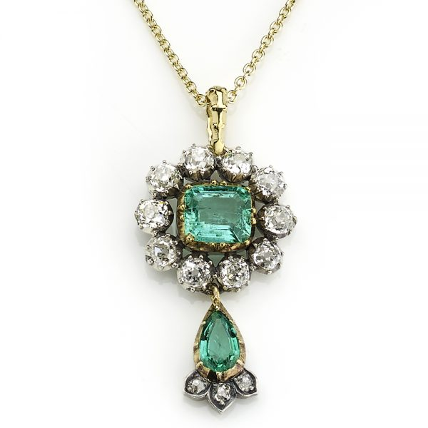 Antique Victorian Emerald and Diamond Cluster Drop Pendant Jewellery Discovery London