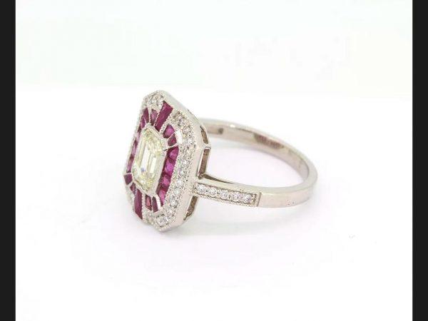 Ruby and Diamond Calibre Set Target Ring, Platinum engagement ring