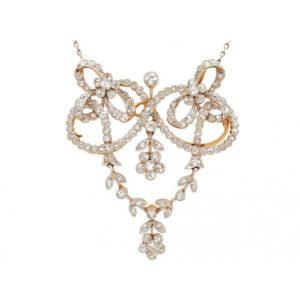 ANTIQUE EDWARDIAN FLORAL DIAMOND PENDANT BROOCH