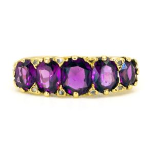 Antique Amethyst and Diamond Gold Ring