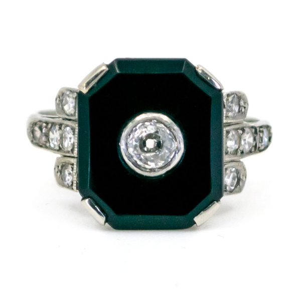 Antique Art Deco Diamond and Onyx Platinum Ring