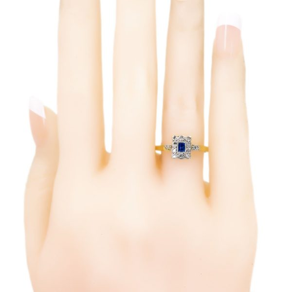 Antique Art Deco Diamond and Sapphire Cluster Ring