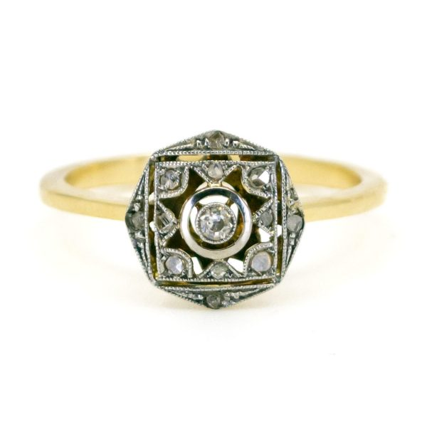 Antique Art Deco Old Mine Cut Diamond Ring