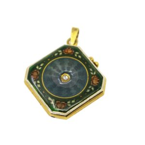 Antique Edwardian Enamel and Diamond Locket Pendant