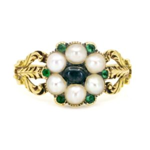 Antique Emerald, Moonstone and Pearl Gold Ring