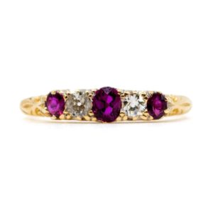 Antique Ruby and Diamond Five Stone Ring