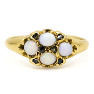 Antique Victorian Opal and Rose Cut Diamond Gold Ring
