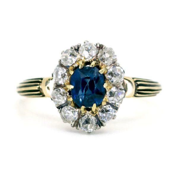 Antique Victorian Sapphire and Old Mine Cut Diamond Cluster Ring