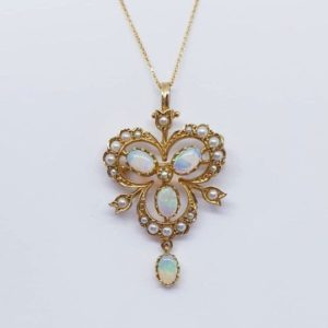 Antique Victorian Style Opal and Pearl Trefoil Gold Pendant- Brooch Necklace