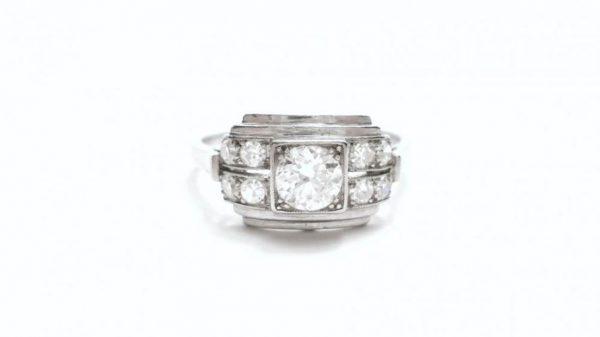 Art Deco Diamond Platinum Ring, 0.50 Carats