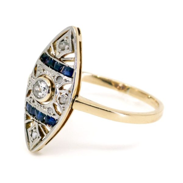 Art Deco Diamond and Sapphire Navette Shaped Gold Ring