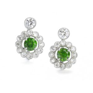 Demantoid Garnet and Diamond Platinum Drop Earrings