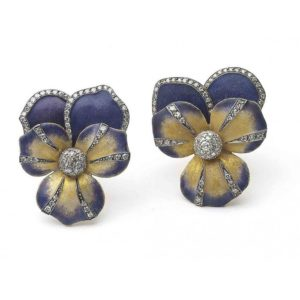 Enamel and Diamond Pansy Flower Earrings