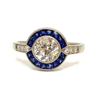 Sapphire diamond target engagement ring round Circular 0.75 carats