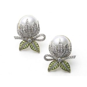 Mabe Pearl, Diamond and Plique-à-jour Flower Bud Earrings