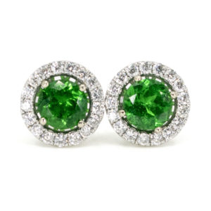 Modern Tsavorite Garnet and Diamond Cluster White Gold Earrings