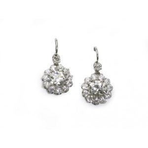 OLD CUT DIAMOND CLUSTER EARRINGS, 5.50 CARATS