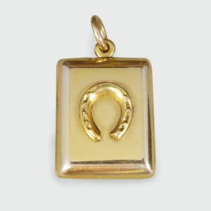 Antique Edwardian Gold Horseshoe Pendant Locket