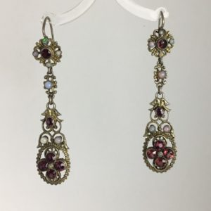Antique Victorian Austro-Hungarian Opal and Garnet Earrings