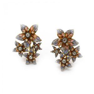 Plique à Jour Enamel and Diamond Flower Earrings