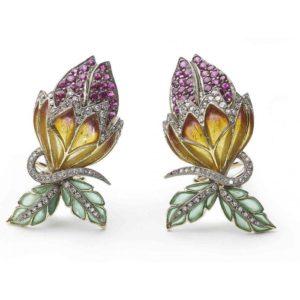 Plique-à-jour Enamel, Ruby and Diamond Flower Bud Earrings