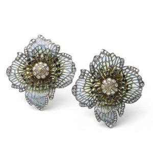 Plique-a-Jour Enamel and Diamond Poppy Flower Earrings