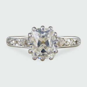 Antique Victorian 1.55ct Diamond Solitaire Engagement Ring, 18ct Gold
