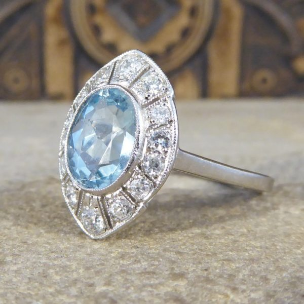 Art Deco Style 1.30ct Aquamarine and Diamond Marquise Shaped Cluster Ring