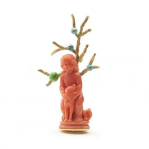 STERLÉ CHILD AND DOG CORAL TURQUOISE JADE AND GOLD BROOCH