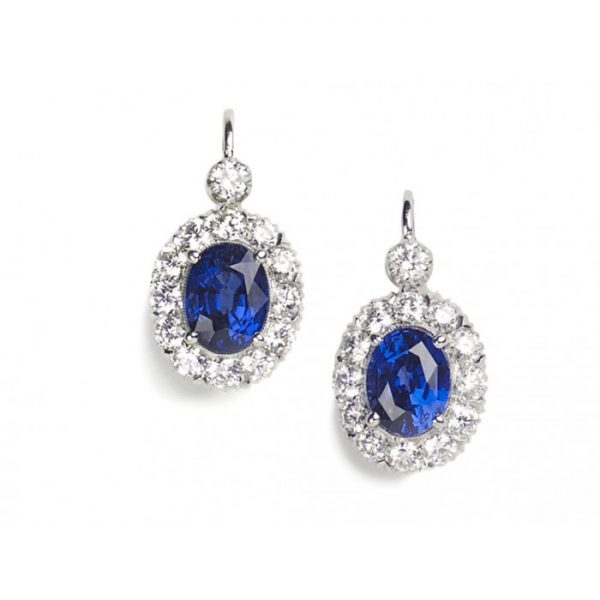 Sapphire and Diamond Cluster Drop Earrings, 2.64 Carats