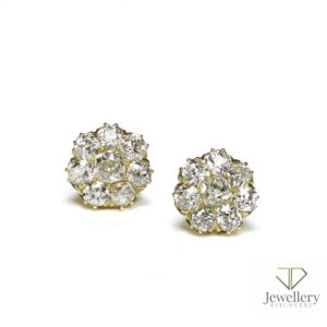 Antique victorian old cut diamond cluster earrings yellow gold claw
