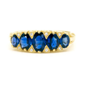 Victorian Style Sapphire and Diamond Five Stone Gold Ring
