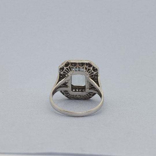 Vintage Aquamarine and Diamond Cluster 18ct Gold Ring