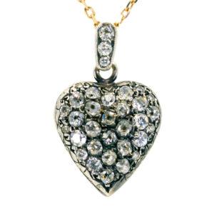 Vintage Old Mine Cut Diamond Heart Pendant