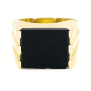 Vintage Onyx and Gold Signet Ring