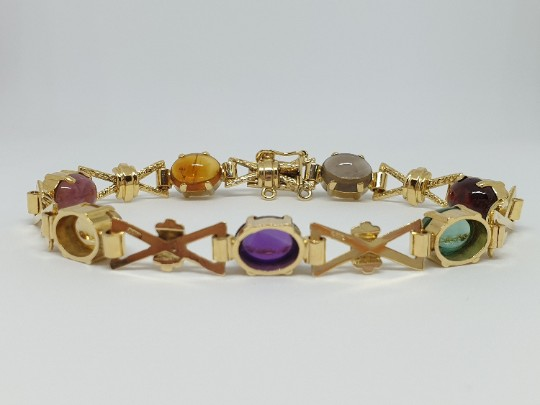Vintage Quartz and Tourmaline Gemstone Gold Bracelet