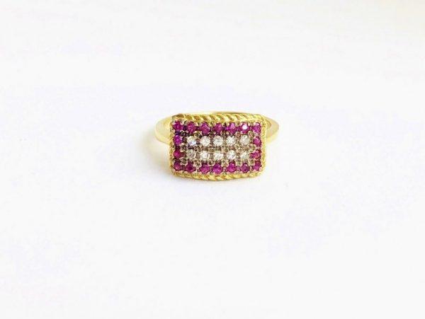 Vintage Ruby & Diamond Rectangular Cluster Ring