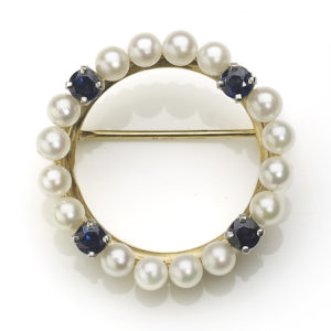 Sapphire and Pearl Circle Brooch, 18ct Yellow Gold
