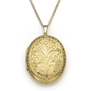Antique Victorian Floral Motif Gold Locket Pendant