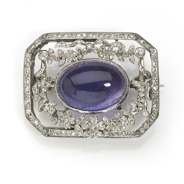 Antique Edwardian Amethyst and Diamond Set Brooch, Platinum