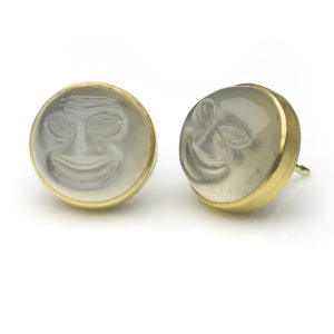 'The Man in the Moon' Carved Moonstone Earrings, 18ct Yellow Gold