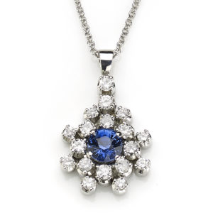 1.05ct Sapphire and Diamond Cluster Pendant